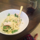 Lightened up fettuccine alfredo.
