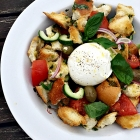 Panzanella salad with burrata