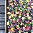 Rainbow shrimp taco nachos