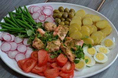 salmon nicoise platter