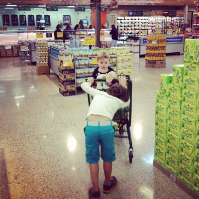 little boys at grocery store
