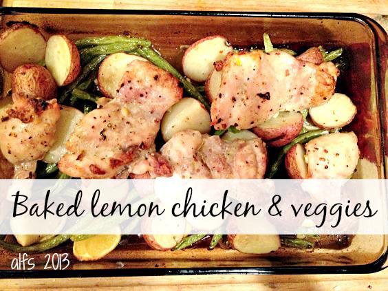baked lemon chicken and veggies
