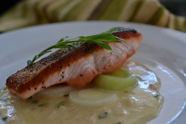 Crispy Skin Salmon, Leeks, Fines Herbs Beurre Blanc