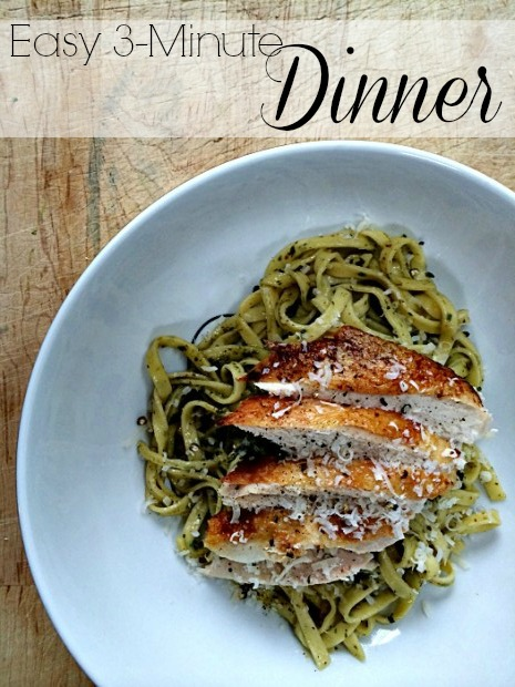 3 minute dinner rotisserie chicken pesto fresh pasta