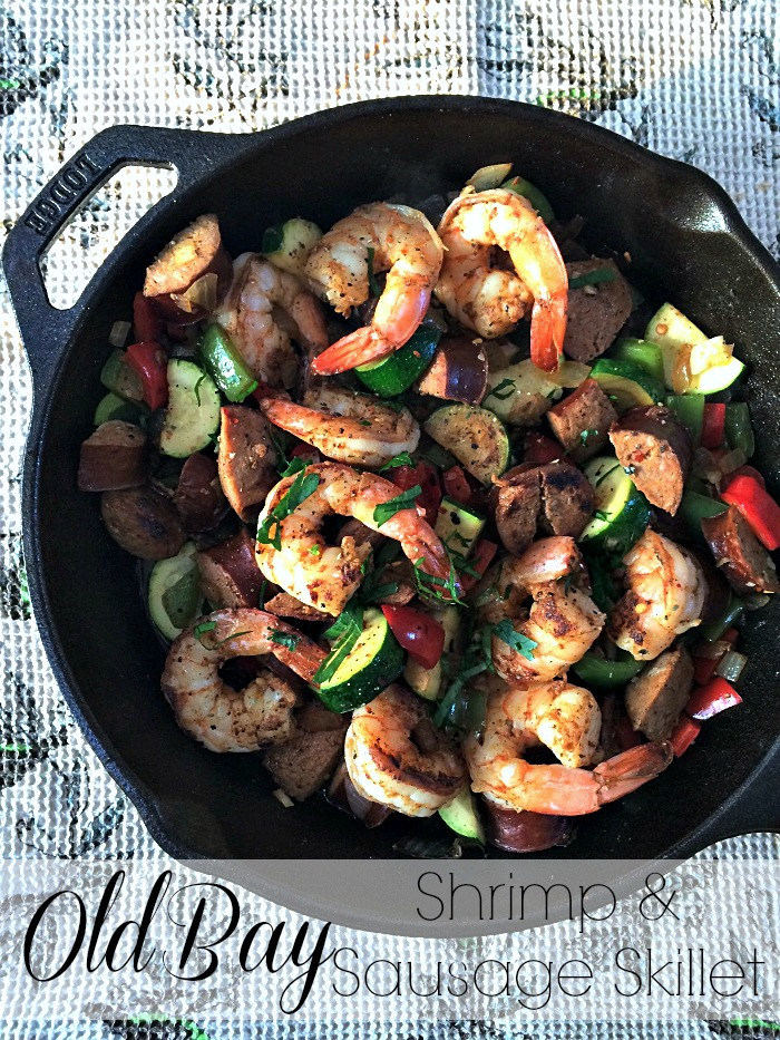 old bay shrimp & sausage skillet