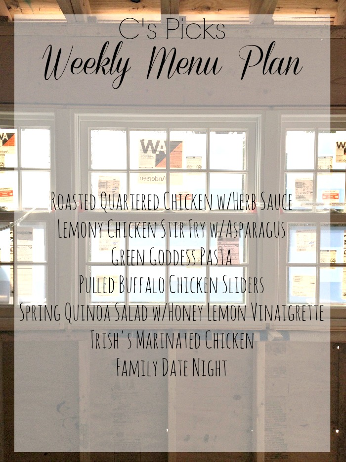 weekly menu plan week of 419