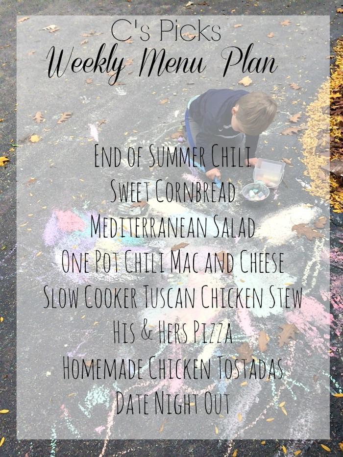 weekly menu plan 10-18