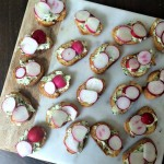 Herbed butter baguettes with radishes.