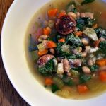 Slow cooker sausage, spinach, & white bean soup