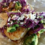 Avocado salsa shrimp tacos
