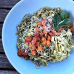 Pasta with homemade pesto and charred tomatoes