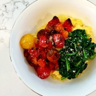 Blistered tomatoes over goat cheese polenta.