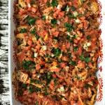 Healthy chicken taco casserole.