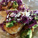 Avocado salsa shrimp tacos